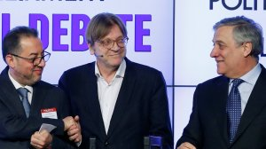 EU Parliament's presidential candidates Pittella, Verhofstadt and Tajani attend a debate in Brussels