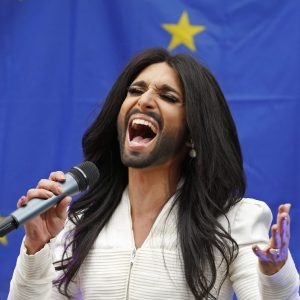 Conchita Wurst, the bearded transgender winner of the Eurovision Song Contest, performs during a concert at the European Parliament in Brussels October 8, 2014. The concert organised by members of Parliament aimed to support the adoption in February of the report against homophobia and sexual discriminations.     REUTERS/Yves Herman (BELGIUM  - Tags: POLITICS ENTERTAINMENT)